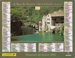 °° Calendrier Almanach La Poste 2002 Oberthur - Dépt 32 - Vues De Montfort-Vitrac Et De La-Roque-Ste-Marguerite - Kalenders