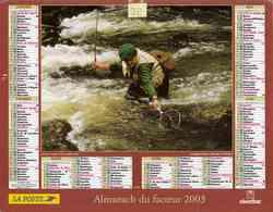 °° Calendrier Almanach La Poste 2003 Oberthur - Dépt 32 - Scènes De Pêche Et De Chasse - Kalenders