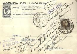 """4512""""AGENZIA DEL LINOLEUM-TORINO-MILANO """"-CART. POST.ORIG. SPED 1933 AL MUNICIPIO DI SANTENA-TORINO - Negozi"""