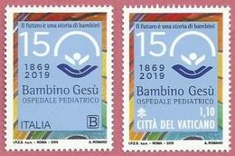 2019 - ITALIA / VATICANO - 150mo ANNIVERSARIO DELL'OSPEDALE BAMBIN GESU' / 150th ANN. OF THE HOSPITAL BAMBIN GESU'. MNH - Emissioni Congiunte