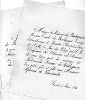 Mariage 1886 Alphonse De Penaranda & Jeanne De Borchgrave Gand Gent De Penaranda De Franchimont Bruxelles - Mariage