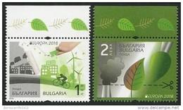 "BULGARIA/ BULGARIE/ BULGARIEN  -EUROPA 2016 -TEMA "" ECOLOGIA - EL PENSAMIENTO VERDE - THINK GREEN"".- SERIE De 2 V. - Europa-CEPT"