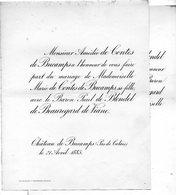 Mariage 1886  Paul De Blondel De Beauregard De Viane & Marie De Contes De Bucamps Château  Pas-de-Calais Bruxelles - Mariage