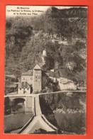 PEPC-17 Saint-Maurice, Pont Sur Le Rhône Et Chateau Et Grotte Aux Fées. Cachet 1909 Burgy - VS Valais