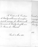 Mariage 1886 Baron De Plinval & Germaine De Sinéty Paris Bergères-sous-Montmirail Le MAIRE De SARS-Le-COMTE OGIER D'IVRY - Mariage