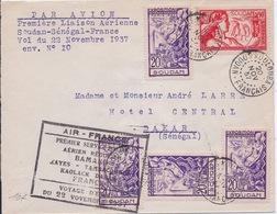 FRANCE - LETTRE PAR AVION 1ER VOL SOUDAN SENEGAL FRANCE 1937 - Poste Aérienne