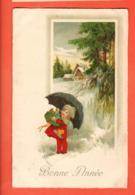 PEPC-35 Bonne Année, Fillette Sous Un Parapluie Regenschirm. Cachet 1916 Vers Moutier - Anno Nuovo