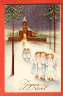 PEPC-40 Joyeux Noël  Enfants Anges Chantant Pour La Messe De Minuit.  Circulé Sous Enveloppe - Navidad