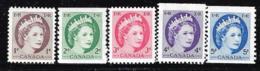 CANADA 1954 SCOTT 337*339**340**345**348** CAT VALUE US $3.40 - 1952-.... Elizabeth II