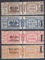 REP. SOCIALE ITALIANA - 1944 - Lotto Di 4 Valori Per Pacchi Nuovi Senza Gomma: Yvert 1/3 E 5. - 4. 1944-45 Social Republic