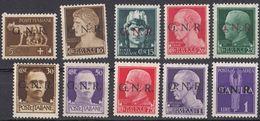 REP. SOCIALE ITALIANA - 1944 - Lotto Di 10 Nuovi Senza Gomma: Yvert 1/6, 8/10 E Posta Aerea 5. - Nuovi