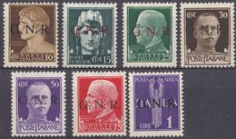 REP. SOCIALE ITALIANA - 1944 - Lotto Di 7 Nuovi Senza Gomma: Yvert 2, 3, 5, 6, 8, 9 E Posta Aerea 5. - Nuovi