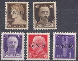 REP. SOCIALE ITALIANA - 1944 - Lotto Di 5 Nuovi Senza Gomma: Yvert 2, 6, 8, 9 E Posta Aerea 5. - 4. 1944-45 Social Republic
