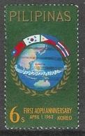 1963 Asian-Oceanic Postal Union, 6s, Used - Philippines