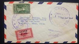 O) 1949 PANAMA, FARM GIRL IN WORK DRESS, FISH -PEZ ESPADA OVERPRINTE AEREO .005b 1947, TO USA - Panama