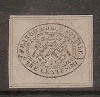 (Fb).A.Stati.Pontificio.1867.-3c Grigio Non Dentellato Nuovo,8 Filetti (12-17) - Etats Pontificaux