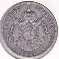 5 Francs 1856 BB Strasbourg NAPOLEON III Tête Nue , En Argent - France