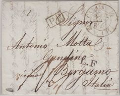 "England/Italien - London 1832 PP-Brief N. Bergamo Transit Calais L 1""L.F."" - Gran Bretagna"