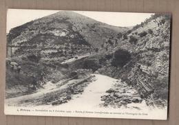 CPA 07 - PRIVAS - Inondation Du 8 Octobre 1907 - Route D'Alissas Transformée En Torrent Et Montagne Du Gras CATASTROPHE - Privas