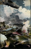 Artiste Cp Das Eingreifen Des Z 6 Im Kampf Um Lüttich 1914, Zeppelin - Militaria