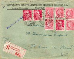 L.R. De MULHOUSE Rue De France étiquette Rouge Sur Blanc - COOPERATIVE DEPARTEMENTALE DE CEREALES DU HAU-RHIN - 18-1-47 - Mulhouse