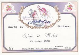 Etiquette Champagne Cuvée Du Bonheur (Mariage) - Sylvie Et Michel - 13 Juillet 1996 - Champagne