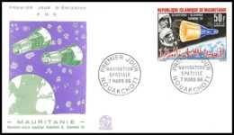 5007/ Espace (space) Lettre (cover) 7/3/1966 Fdc Gemini 6 Et 7 Stafford Schirra Mauritanie - Covers & Documents
