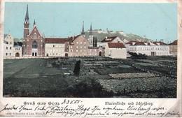 AUTRICHE 1905 CARTE POSTALE GRUSS AUS GRAZ  MARIENKIRCHE UND SCHLOSSBERG - Graz