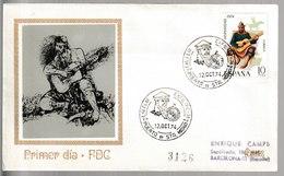N 7) Spanien 1974 Mi# 2111 FDC: Martin Fierro, Titelheld Eines Werkes Von J. Hernandez, Gitarre - Musik