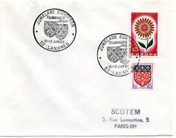HERALDIQUE = 52 LANGRES 1965 1965 = CACHET TEMPORAIRE  Illustré De 2 ARMOIRIES 'JUMELAGE EUROPEEN  ELLWANGEN Jagst' - Marcophilie (Lettres)