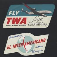 SET Of 2 VINTAGE Advertising Labels TWA SUPER CONSTELATION + PAN AM Inter Americano PANAGRA Constellation Plane - Badges D'équipage