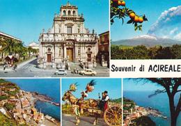 SOUVENIR DI ACIREALE - 5 VEDUTE - CARRETTO SICILIANO - ETNA - CHIESA DI S.SEBASTIANO - Acireale