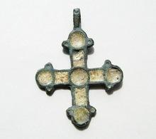 Ancient Viking Bronze Enamel Cross Pendant 10-13th Century AD. - Archaeology