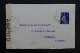 PORTUGAL - Enveloppe Vila Nova De Gaya Pour La France , Affranchissement Plaisant , Contrôle Postal - L 33736 - 1910-... République