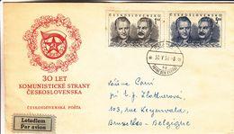 Tchècoslovaquie - Lettre De 1951 - Oblit Praha - Exp Vers Bruxelles - Stalin - - Tchécoslovaquie