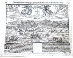 PORTUGAL PORTUGUESE LISBONA  CARTE ANCIENNE 16° VUE CAVALIERE DE LA VILLE DE LISBONNE VERS 1590 / 1600 - Geographical Maps