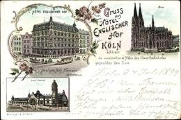 Lithographie Köln Am Rhein, Hotel Englischer Hof, Fritz Niemann, Dom, Hauptbahnhof - Germany