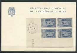 FRANCE 1938 . N° 399 En Bloc De Quatre . Coin Daté . Oblitéré Sur Lettre . - Covers & Documents