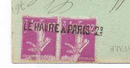 LE HAVRE À PARIS 2°brigade - Semeuse N°190 X2 - CACHET LINÉAIRE - CP Dieppe Le Puits Salé - Storia Postale