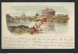 Roma. Italie. Mausoleum Des Andrians. Lithographie Signée G Gioja. Voyagée En  1893.  Précurseur. - Roma (Rome)