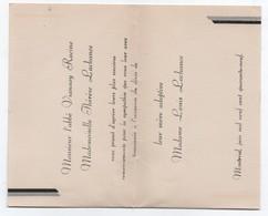 Carton De Remerciements Suite à Décès/ CANADA/Abbé Vianney RACINE Et Thérèse LACHANCE/Montréal/1949      FPD115 - Décès