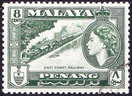 MALAYA PENANG 1957 8c Myrtle-Green SG48 Fine Used - Penang