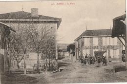 Bassu,la Place,café Du Midi,charette - Autres Communes