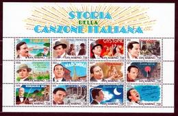 1996 San Marino Saint Marin STORIA DELLA CANZONE ITALIANA Foglietto Di 12v. MNH** Souv. Sheet - Blocchi & Foglietti