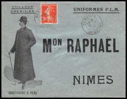 53159 Semeuse N°138 Aubenas Ardeche 1908 Cad A3 Maison Raphael Nimes Gard Tailleur Confection Enveloppe Illustree - Marcophilie (Lettres)