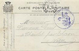 Carte Postale Franchise Militaire TROUPES En CAMPAGNE 1914 + Déesse Bataillon De Chasseurs - Poststempel (Briefe)