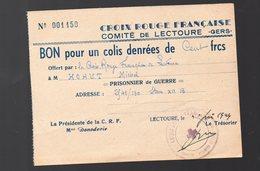 (guerre 39-45) Lectoure (32 Gers) Bon Pour Un Colis CROIX ROUGE Française 1944 (PPP18928) - Non Classés