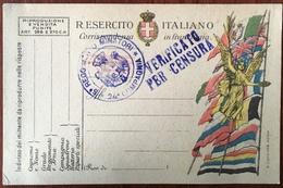 Cachet. Sigillo. 5e Reggimento Minatori. 24e Compagnia. Verificato Per Censura. Censure Sur Carte De Franchise Militaire - 1900-44 Victor Emmanuel III