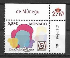 Monaco 2019 - Yv N° 3193 ** - 25 Ans Du Zonta Club - Neufs