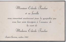Carton De Remerciements Suite à Décès/CANADA/Monsieur Edwide FAUCHER/Décés De Edwide FAUCHER/ST Sévérin/1951      FPD116 - Décès